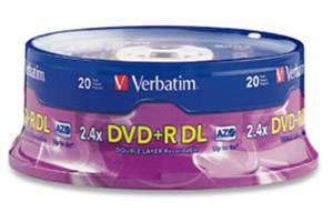 Verbatim 95310 2.4- 6x 8.5GB DVD+R Dual Layer 20PK Spindle