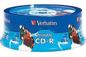 Verbatim 96189 52X 700MB 80min White Inkjet Printable CD-R 25PK Spindle