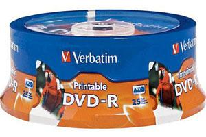 Verbatim 96191 16X 4.7GB White Inkjet Hub Printable DVD-R 25PK Spindle