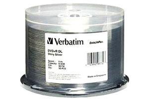 Verbatim 96732 8X 8.5GB DVD+R Dual Layer 50PK Spindle Shiny Silver