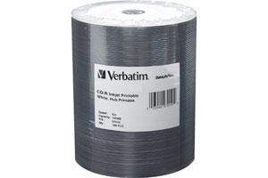 Verbatim 97019 52X 700MB 80min White Inkjet Hub Printable CD-R 100PK Spindle Tape Wrap