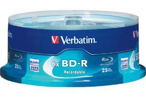 Verbatim 97457 BD-R 6X 25GB Write Once Single Layer Blu-ray 25PK Spindle
