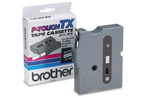 Brother TX-2111 1/4 Inch Black on White P-Touch Tape (6mm x 15m)