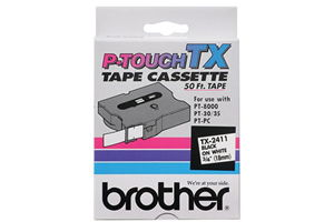 Brother TX-2411 3/4 Inch Black on White P-Touch Tape (18mm x 15m)