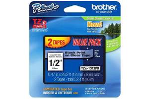 Brother TZE-131 1/2 inch Black on Clear Tape (12mm x 8m) - 2 PACK