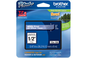 Brother TZE-135 1/4 inch White on Clear Tape (12mm x 8M)