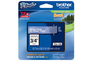 Brother TZE-145 3/4 inch White on Clear Tape (18mm x 8M)