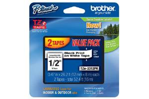 Brother TZE-231 1/2 inch Black on White Tape (12mm x 8m) - 2 Pack