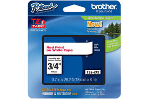 Brother TZE-242 3/4 inch Red on White Tape (36mm x 8m)