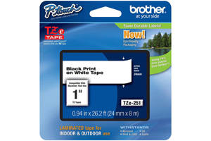 Brother TZE-251 1 inch Blue on White Tape (24mm x 8m)