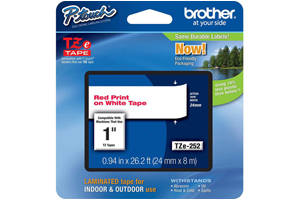 Brother TZE-252 1 inch Red on White Tape (24mm x 8m)