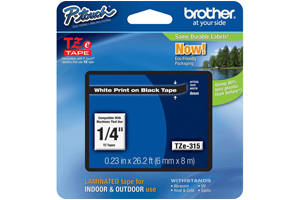 Brother TZE-315 1/4 inch White on Black Tape (6mm x 8m)