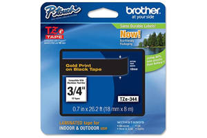 Brother TZE-344 3/4 inch Gold on Black Tape (18mm x 8m)