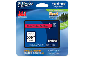 Brother TZE-421 3/8 inch Black on Red Tape (9mm x 8m)