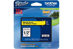 Brother TZE-631 1/2 inch Black on Yellow Tape (12mm x 8m)