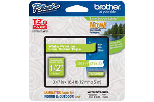 Brother TZE-MQG35 1/2 inch White on Lime Green Tape (12mm x 5m)