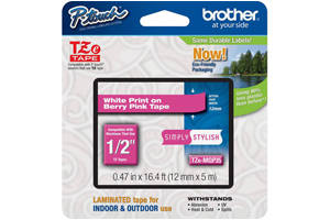 Brother TZE-MQP35 1/2 inch White on Berry Pink Tape (12mm x 5m)