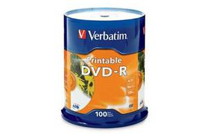 Verbatim 95153 16X 4.7GB White Inkjet Printable DVD-R 100PK Spindle