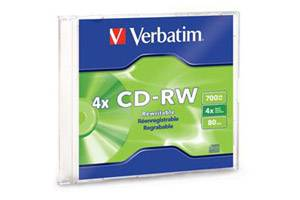 Verbatim 95117 4X 80Min 700MB CD-RW 1PK Slim Jewel Case