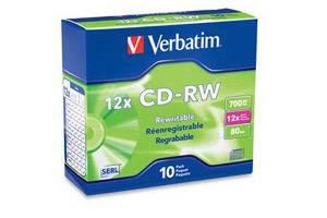 Verbatim 95156 High Speed 12X 80Min 700MB CD-RW 10PK Slim Jewel Case