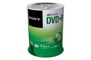 Sony 16X 4.7GB DVD+R 100PK Spindle