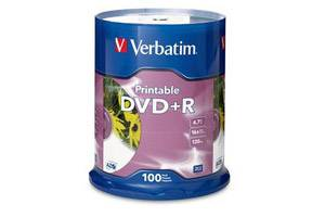 Verbatim 95145 16X 4.7GB White Inkjet Printable DVD+R 100PK Spindle