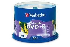 Verbatim 95136 16X 4.7GB White Inkjet Printable DVD+R 50PK Spindle