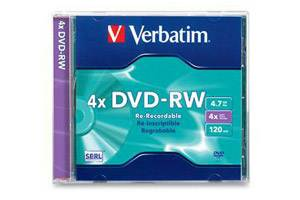 Verbatim 94836 4X 4.7GB DVD-RW DataLife Plus 1PK Jewel Case