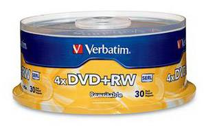 Verbatim 94834 4X 4.7GB DVD+RW 30PK Spindle