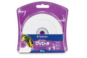 Verbatim 96940 16X 4.7GB DVD+R 10PK Spindle White IJ Printable