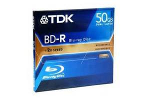 TDK BD-R50A BD-R DL 2X 50GB Write Once Dual Layer Blu-ray 1PK Jewel Case