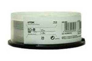 TDK 48967 BD-R 2X 25GB Write Once Single Layer Blu-ray Thermal Glossy White 25PK
