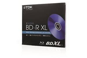 TDK 61928 BD-R XL 4X 100GB White Inkjet Printable Write Once Triple Layer Blu-ray 1PK Jewel Case