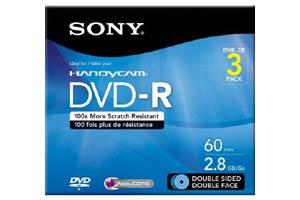 Sony 3DMR60DSR1H 2.8GB Double Sided DVD-R Mini 3PK