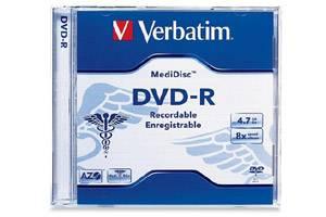 Verbatim 94905 4.7GB MediDisc Thermal Printable DVD-R 1PK Jewel Case