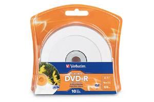 Verbatim 96936 4.7GB White Inkjet Printable DVD-R 10PK Blister Pack
