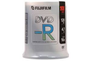 Fuji 15654636 4.7GB White Inkjet Hub Printable DVD-R 100PK Spindle