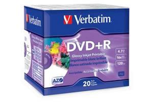 Verbatim 96122 4.7GB Glossy Inkjet Printable DVD+R 20PK Slim Case