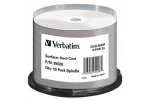 Verbatim 95026 9.4GB Double Sided DataLife Plus Hardcoated DVD-RAM 50PK Spindle