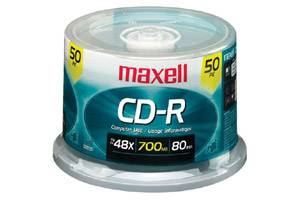 Maxell 648250 48X 80 min 700MB CD-R Media 50PK Spindle