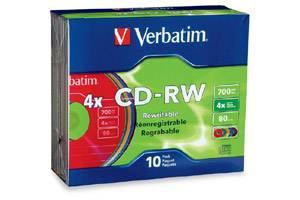 Verbatim 94325 4X 80 min 700MB CD-R/W Media 10PK Slim Case