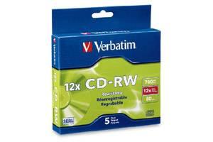 Verbatim 95157 12X 80 min 700MB CD-R/W Media 5PK Slim Case