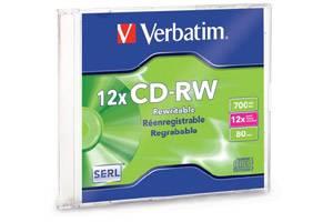 Verbatim 95161 12X 80 min 700MB CD-R/W Media 1PK Slim Case