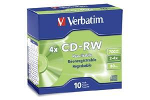 Verbatim 95170 4X 80 min 700MB CD-R/W Media 10PK Slim Case