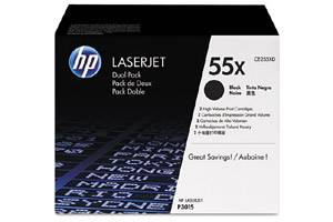 HP CE255XD / 55X [OEM] Genuine Dual Pack High Yield Black Toner