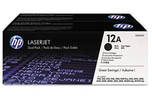 HP Q2612D / 12A [OEM] Genuine Dual Pack Black Toner for LaserJet 1010