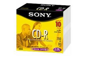 Sony 10CDQ80SS CD-R 48X 700MB 80min 10PK Slim Jewel Case