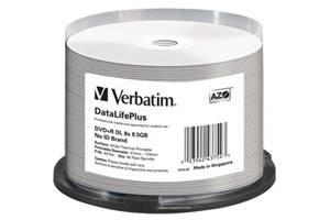 Verbatim 43754 DVD+R DL 8.5GB White Wide Thermal Printable DataLife Plus 50PK