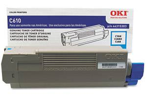 Okidata 44315303 [OEM] Genuine Cyan Toner Cartridge for C610 Series Printer
