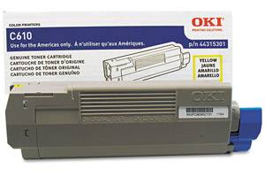 Okidata 44315301 [OEM] Genuine Yellow Toner Cartridge for C610 Series Printer